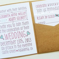 Pocketfold Wedding Invitations - Poster Doodles Signature Pocketfold Invitation Suite | Luulla