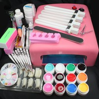 25 in 1 Professional Nail Art UV Gel Kit UV 36W 110V US Plug Pink Lamp Dryer Brush Buffer Tool Nail Tips Glue Super Set #23