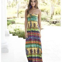 TRIBAL PRINT BANDEAU MAXI DRESS | Body Central