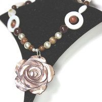 Brown Mother of pearl  Necklace and Earrings Large rose pendant