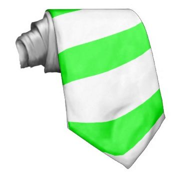 Neon Green and White Striped Tie (Thick Stripes)