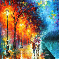 "Love By The Lake — PALETTE KNIFE(3) Oil Painting On Canvas By Leonid Afremov - Size: 30"" x 40"" (75cm x 100cm)"