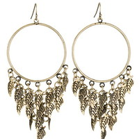 Gold-Colored Cascading Feather Hoop Earrings - Gold/Black