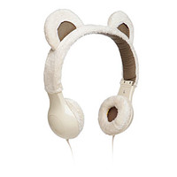 Furry Plush Headphones - White Kitty