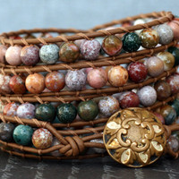 jasper wrap bracelet- ocean jasper on chocolate brown leather
