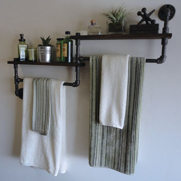 "Industrial Bathroom Shelf / Towel rack combo the ""Deuce"""