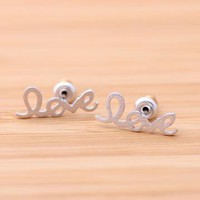 silver love stud earrings handwritten by bythecoco on Zibbet