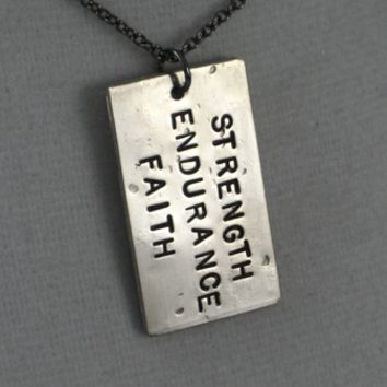 FAITH - STRENGTH ENDURANCE FAITH NECKLACE - Nickel pendant with Gunmetal chain