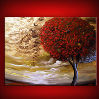 thick paint textured cloud painting tree painting by mattsart