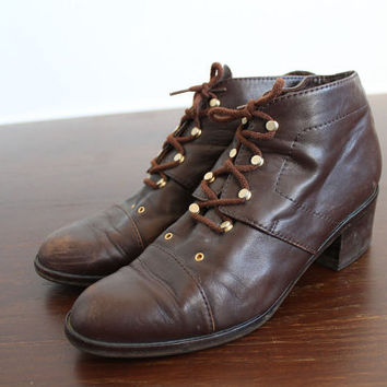 90s Vintage Brown Leather Ankle Gold Tips Boots for Women size (EU 40) (UK 7) (US 9)