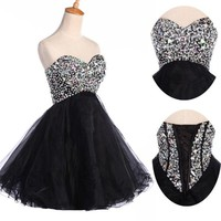 Hot Sale Beaded Quinceanera Dresses Ball Gown Prom Pageant Dress Strapless Short