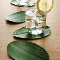 Design Ideas Bali Hai Drink Coasters Set of 4 Leaf Shape Green Eva Foam