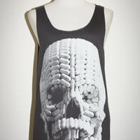 Pill Skull Halloween Charcoal Black Tank Top by pleiadeshop