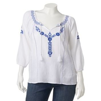 Mudd® Embroidered Peasant Top - Juniors' Plus