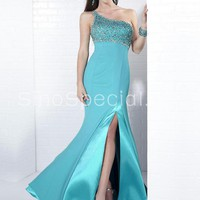 Fabulous Blue Sheath/Column One-shoulder Neckline Beadings Prom/Evening Dress-SinoSpecial.com