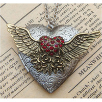 Steampunk Flying Heart Locket Necklace Vintage by sallydesign
