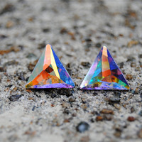 Swarovski Crystal Earrings - Triangle - Aurora Borealis