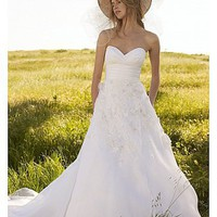 Buy Elegant Exquisite Satin &Organza A-line Sweetheart Neckline Wedding Dress
