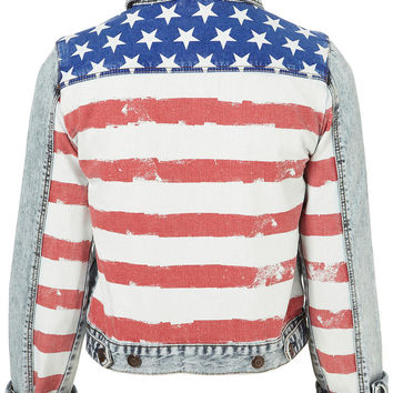 MOTO Acid Flag Western Jacket - Denim  - Clothing  - Topshop