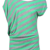Green Striped Wedge Tee - Dots