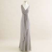 Evie long dress in silk chiffon - Chiffon - Women&#x27;s weddings &amp; parties - J.Crew