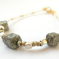 Three Stone Dainty Pyrite Bracelet with African Nickel Silver Heishi Beads