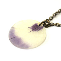 Real Pansy real petal necklace botanical jewelry by AhoyAhimsa