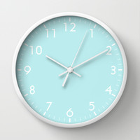 Pastel Turquoise Blue Wall Clock by BeautifulHomes | Society6