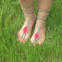 gray, red, sandals, Sandals, Sexy Foot Jewelry, Toe Ring, Yoga, Foot Thongs, Nude shoes, accessories for women sandles