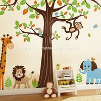 Jungle Safari Animals HUGE Set Nursery Kids Playroom Vinyl Wall Decal | Styleywalls - Housewares on ArtFire