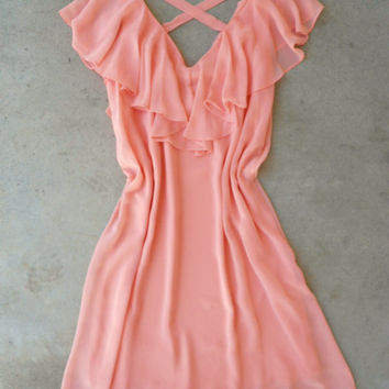 Feminine Confection Dress in Peach [4944] - $34.00 : Vintage Inspired Clothing & Affordable Dresses, deloom | Modern. Vintage. Crafted.