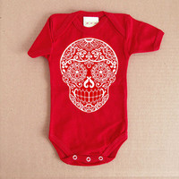 Red Sugar Skull Baby Clothes. 3 or 6 months. Day of the Dead Bodysuit Creeper. Infant Girl Boy Rockabilly Toddler Skull Tattoo Punk Baby