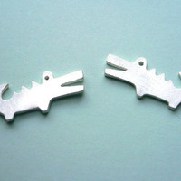 Crocodile Silver Earring Animal Studs Earrings by StudioRhino