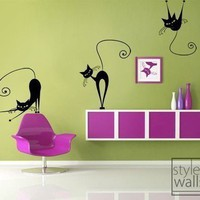 Set of 3 Naughty Cats Vinyl Wall Decal | Styleywalls - Housewares on ArtFire