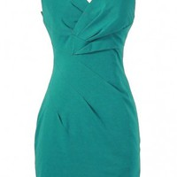 Rachel Teal Crossover Pencil Dress by Ark and Co - WHAT'S NEW