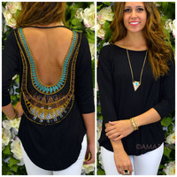 Sun Flare Black Open Crochet Back Top