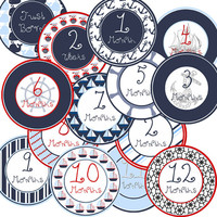 14 Nautical Coastal Sailor Red or Green Baby Boy Monthly Milestone Onesuit Stickers Newborn Shower Gift