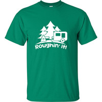 Roughin' it Roughing trailer Camping camp Shirt T-Shirt Mens Ladies Womens Youth Kids Funny Geek Camping Hiking Mountain ML-388