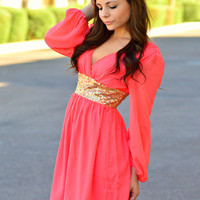 THE GLIMMERING GODDESS CORAL CHIFFON DRESS