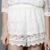 Full Lace White Shorts