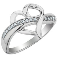Diamond Heart Promise Ring 1/10 Carat (ctw) in Sterling Silver