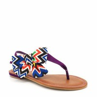 tribal printed bow t-strap sandals $16.50 in PURPLE | GoJane.com