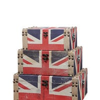 ideeli | CREATIVE CO-OP Set of 3 Union Jack Trunks