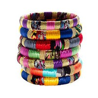 Cara Accessories Mixed-Fabric and Gold Bangle