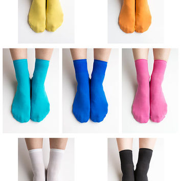Women New Hezwagarcia 7 Colors Lot Basic Essential Vivid Colors Package Polyester Spandex Socks Stocking Hosiery