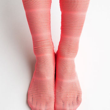 Women New Hezwagarcia Unique Super Mesh Neon Pink Black See Through Nylon Spandex Socks Hosiery