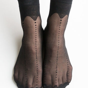 Women New Hezwagarcia HOT Sheer Crwon Lace See Through Casual Black Ankle Socks Stocking Hosiery