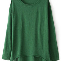 ROMWE Asymmetric Sheer Color Long-sleeves Green Jumper