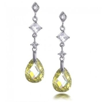 Bling Jewelry Sterling Silver Faceted Yellow Citrine Color Teardrop CZ Earrings | Bling Jewelry