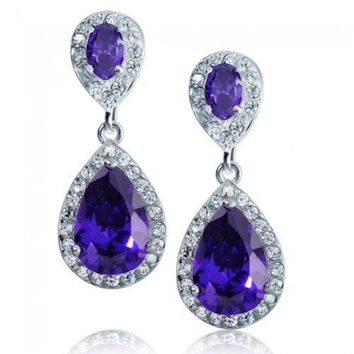 Bling Jewelry Silver Pave CZ Amethyst Color Teardrop Earrings | Bling Jewelry
